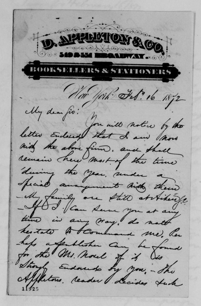 Alexander Hamilton Stephens Papers: General Correspondence, 1784-1886; 1872, Jan. 4-Feb. 28