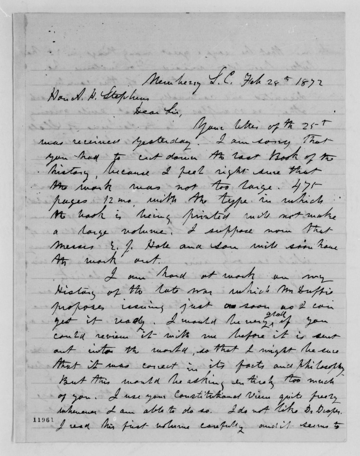 Alexander Hamilton Stephens Papers: General Correspondence, 1784-1886; 1872, Jan. 4-Feb. 28