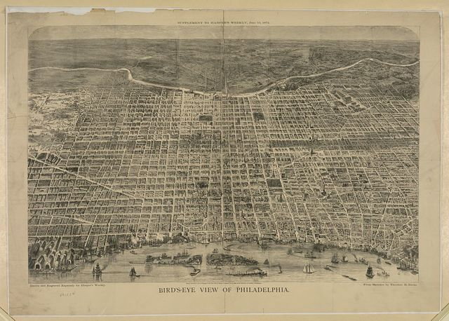 Bird's-eye view of Philadelphia / drawn and engraved expressly for Harper's Weekly from sketches by Theodore R. Davis.