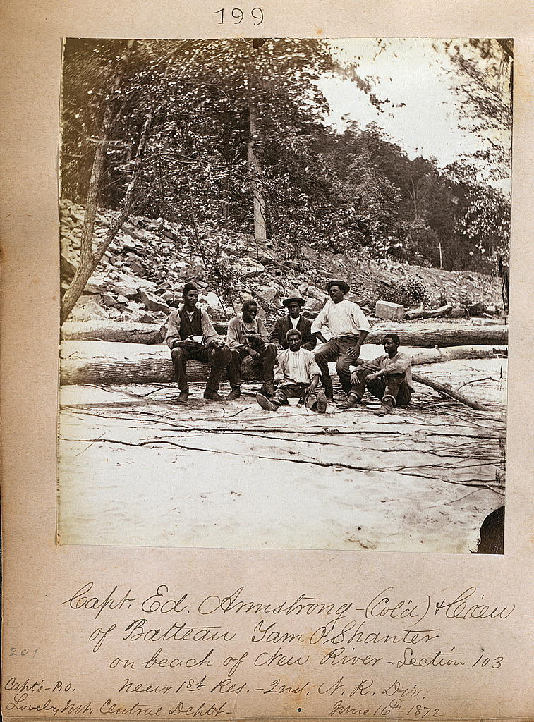 Capt. Ed. Armstrong (Col'd) & crew of batteau Tam O'Shanter on beach of New River, Section 103, near 1st Res. 2nd N. R. Div.