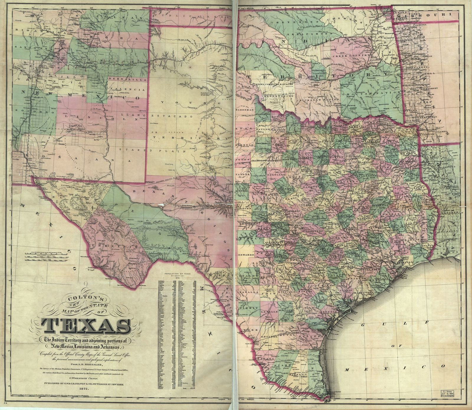 Map Of Texas And Louisiana Border.Colton S New Map Of The State Of Texas The Indian Territory And