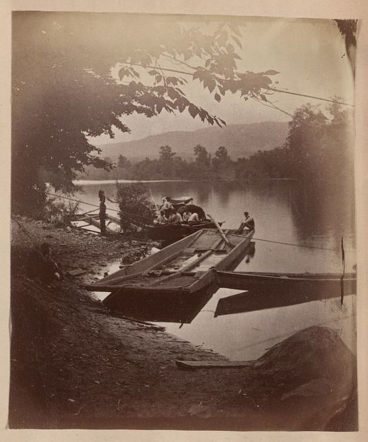 Group of boats at Alderson's Ferry, looking down Greenbrier