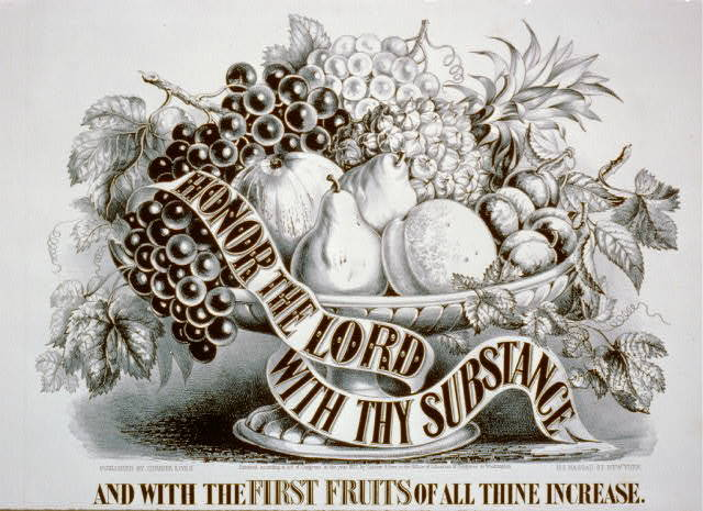 Honor the Lord with thy substance and with the first fruits of all thine increase