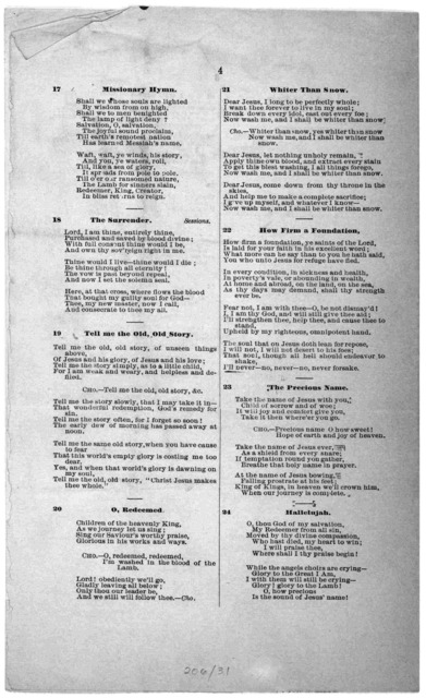 Hymns for the devotional meetings of the Young men's Christian association, corner Ninth and D streets, Washington, D. C. ... [Washington, D. C.] Judd & Detweiler, Steam job printers [1872].