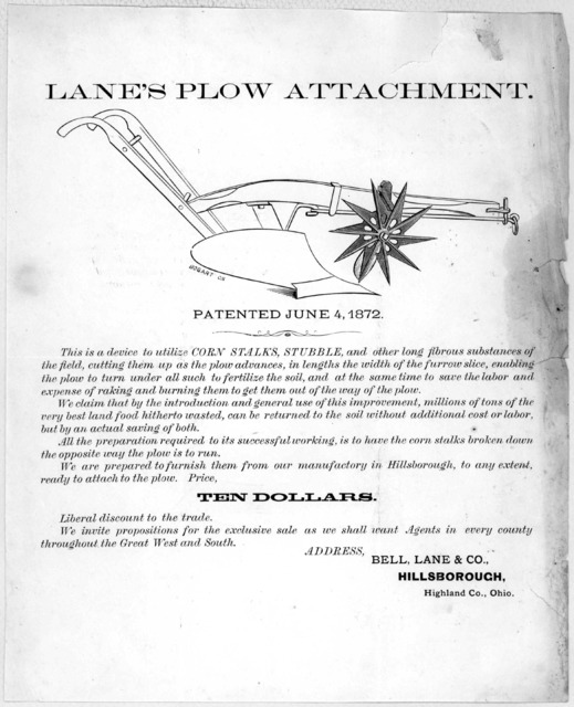 Lane's plow attachment ... Bell, Lane & Co. Hillsborough, Highland Co., Ohio [1872].