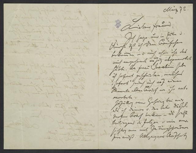 [Letter, 1872] März, [to Levi ]