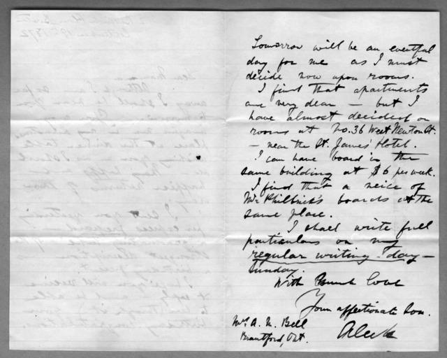 Letter from Alexander Graham Bell to Eliza Symonds Bell, September 19, 1872