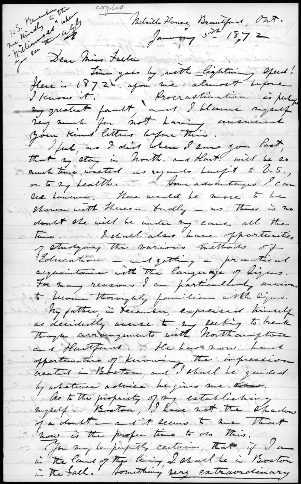 Letter from Alexander Graham Bell to Sarah Fuller, January 5, 1872