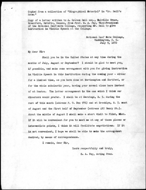 Letter from Edward A. Fay to Alexander Graham Bell, July 9, 1872