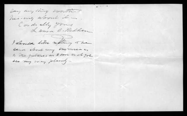 Letter from Laura C. Redden to Alexander Graham Bell, April 16, 1872