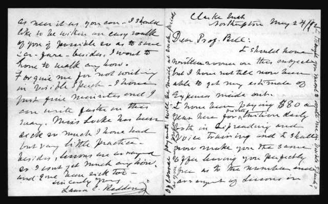 Letter from Laura C. Redden to Alexander Graham Bell, May 24, 1872