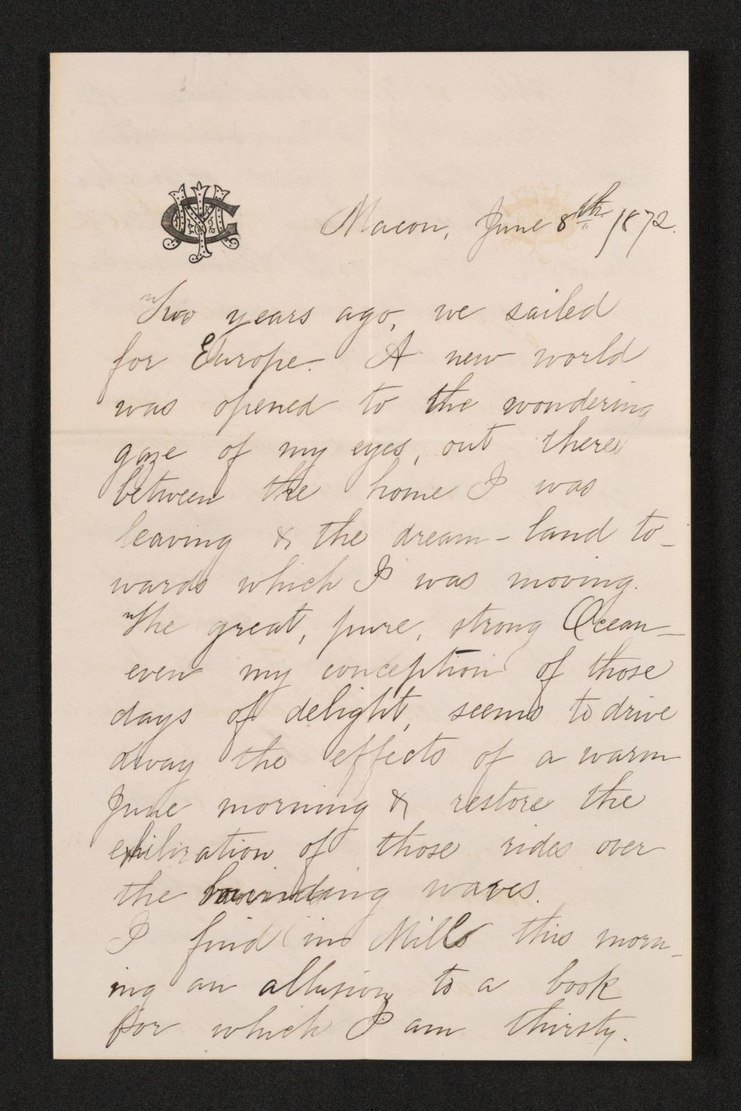 Lewis H. Machen Family Papers: Machen-Gresham Correspondence, 1871-1889; Gresham, Minnie, to Machen, Arthur W.; 1872