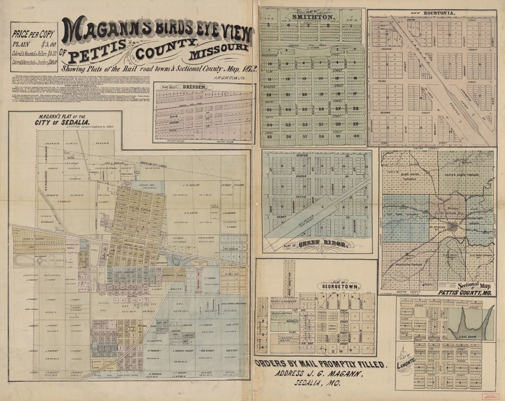 Magann's bird's eye view map of Pettis County, Missouri : showing plats of the railroad towns and sectional county map, 1872 /