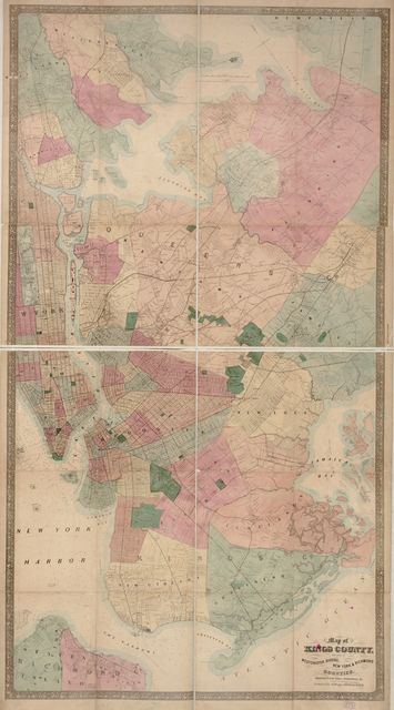 Map of Kings County : with parts of  Westchester, Queens, New York & Richmond : showing farm lines, soundings, &c.