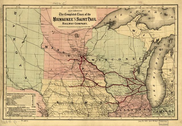 Map showing the completed lines of the Milwaukee and Saint Paul Railway Company.