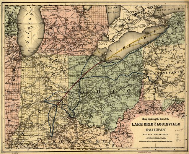 Map showing the line of the Lake Erie and Louisville Railway and its connections.