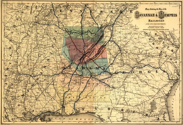 Map showing the line of the Savannah & Memphis Railroad and its connections.