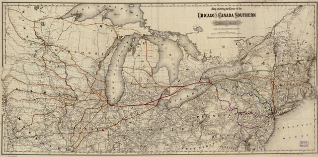 Map showing the route of the Chicago and Canada Southern Railway and its connecting lines.