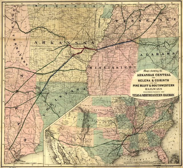 Maps showing Arkansas Central, the Helena & Corinth, and the Pine Bluff & Southwestern Railroads together forming the Texas & Northeastern Railway.