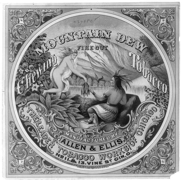 Mountain Dew fine cut chewing tobacco Manufactured by Allen & Ellis, the leader tobacco works of Chicago / / Donaldson & Elmes Steam Lith.