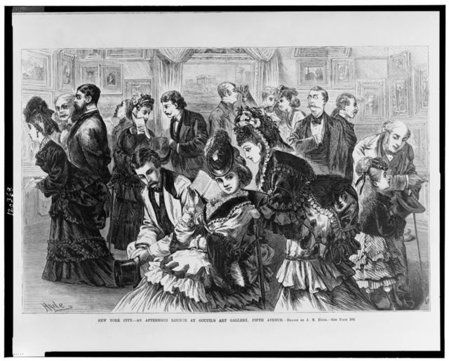 New York City--An afternoon lounge at Goupil's Art Gallery, Fifth Avenue / drawn by J.N. Hyde.