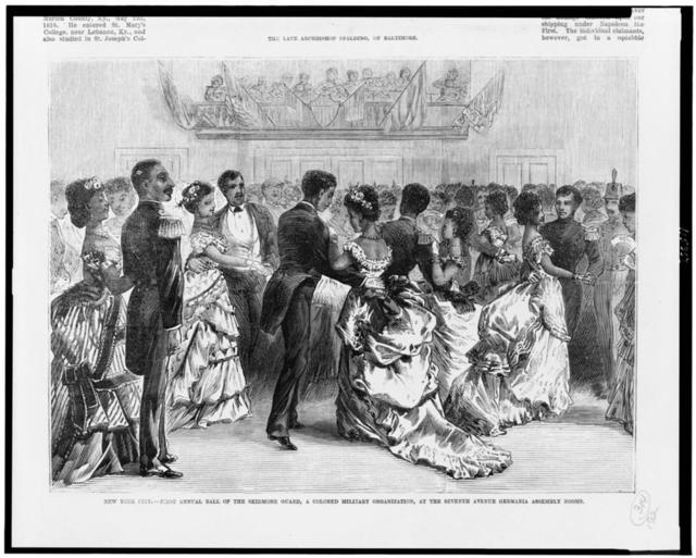 New York City - first annual ball of the Skidmore Guard, a colored military organization, at the Seventh Avenue Germania assembly rooms