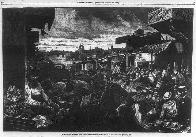 "[New York (City) - ""Washington Market...Thanksgiving Time"" - crowded market scene]"