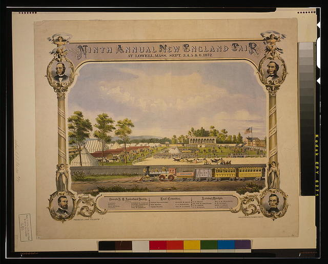 Ninth annual New England Fair, at Lowell, Mass., Sept. 3, 4, 5 & 6 1872 / D. Drummond ; Chas. H. Crosby & Co. lith., Boston.