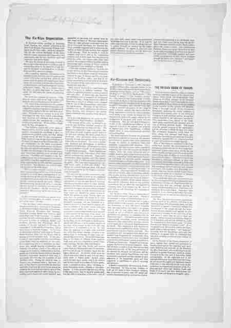 The Ku-Klux organization ... Ku-Kluxism and democracy. The Ku-Klux reign of terror. [n. p. 1872].