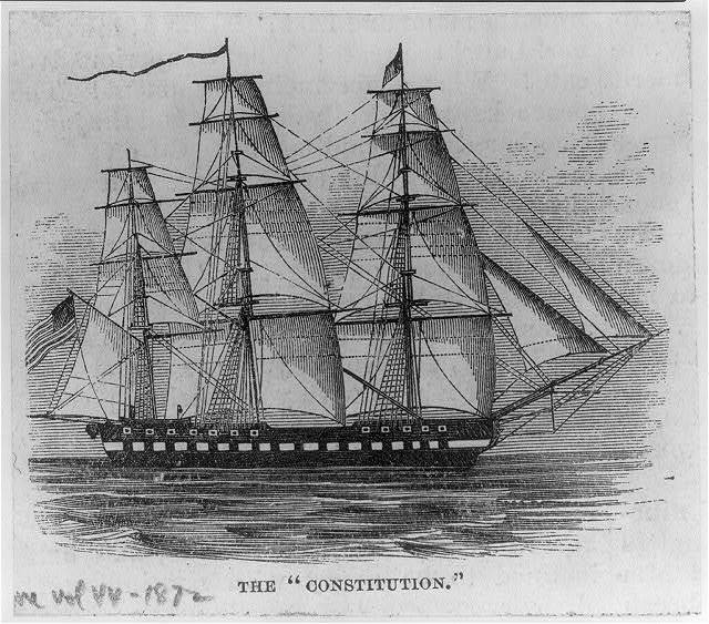 [U.S.S. Constitution - artists' conceptions: starboard, full sail]