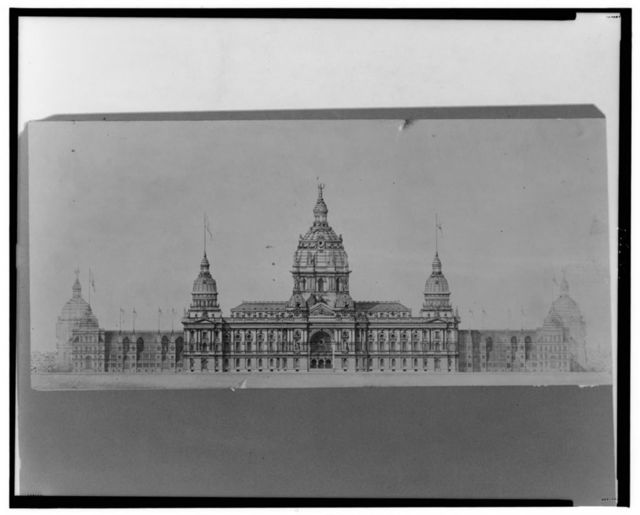 A geometrical elevation of the East Front of the permanent and temporary buildings connected, and description for the U.S. Centennial Exhibition