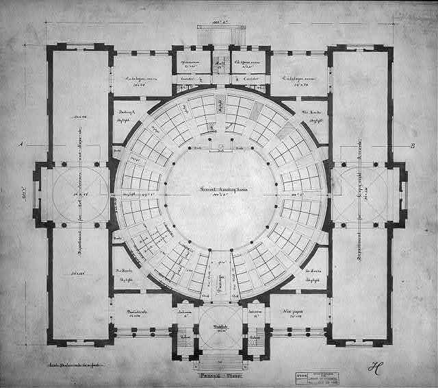Architectural drawing for the Library of Congress, Washington, D.C. Floor plan