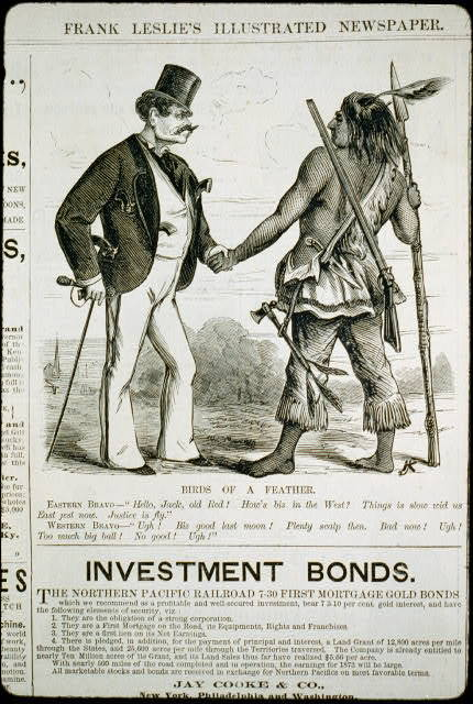 """Birds of a feather [cartoon showing """"Eastern bravo"""" man, with 4 pistols sticking out of his pockets, shaking hands with """"Western bravo"""" (an Indian, who has rifle, spear, knife and tomahawk)]"""