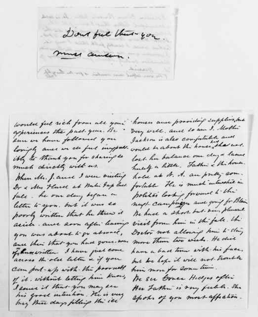 Clara Barton Papers: General Correspondence, 1838-1912; Johnson, Fanny B., 1873-1889, Dansville Sanatorium