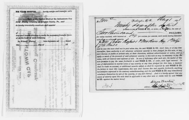 Clara Barton Papers: Miscellany, 1856-1957; Financial and legal papers; Securities and investments; Miscellany, 1873-1904, undated