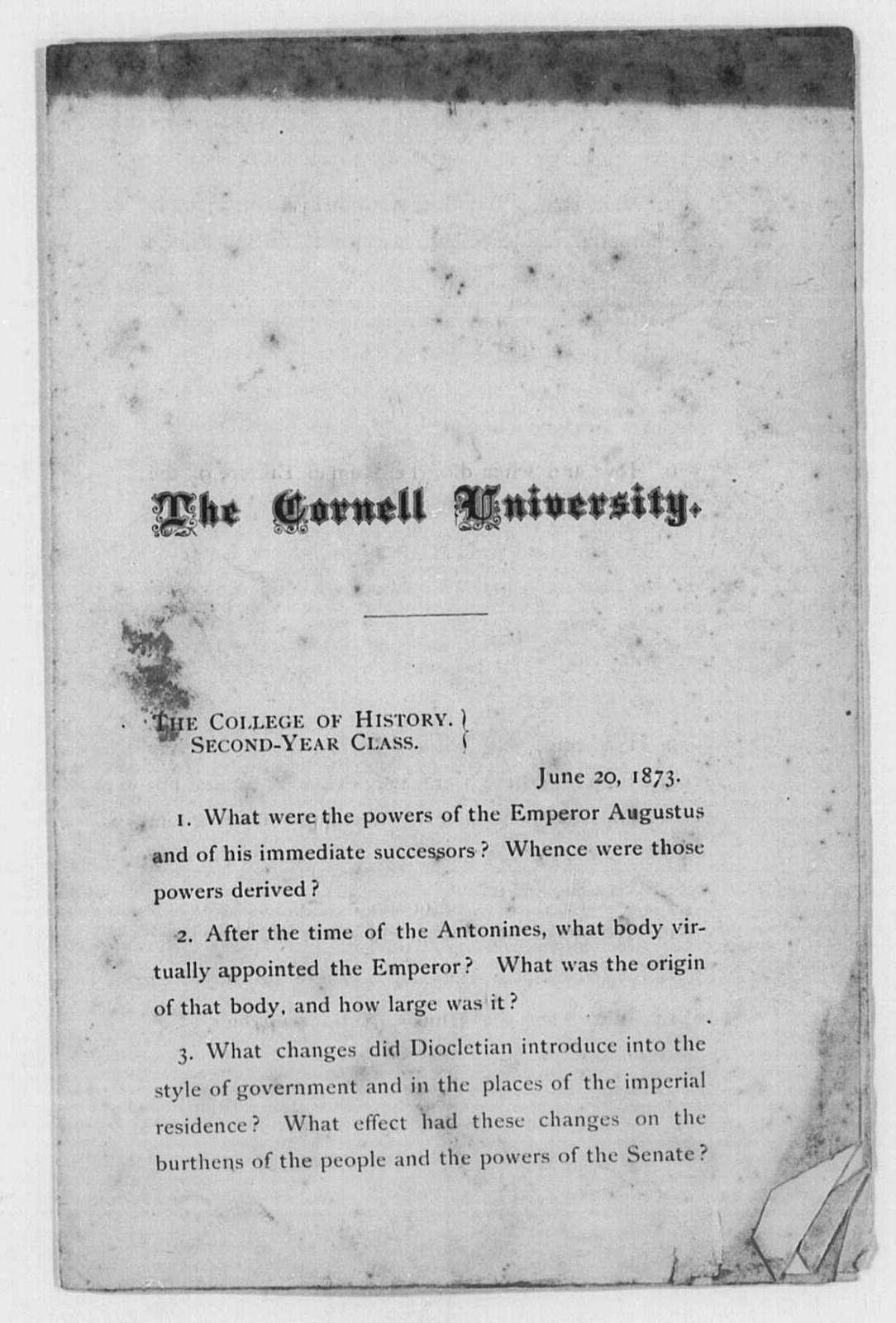 Cornell University, Ithaca, N.Y., History Examinations, 1872-1873
