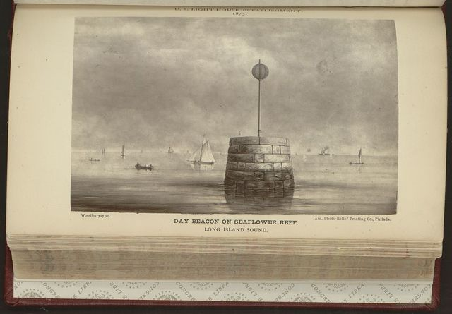Day beacon on Seaflower Reef, Long Island Sound / Am. Photo-Relief, Printing Co., Phila.