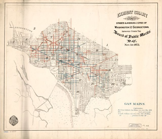 Exhibit chart showing streets & avenues of the cities of Washington and Georgetown, improved under the Board of Public Works, D.C. : Nov. 1st 1873 : gas mains.