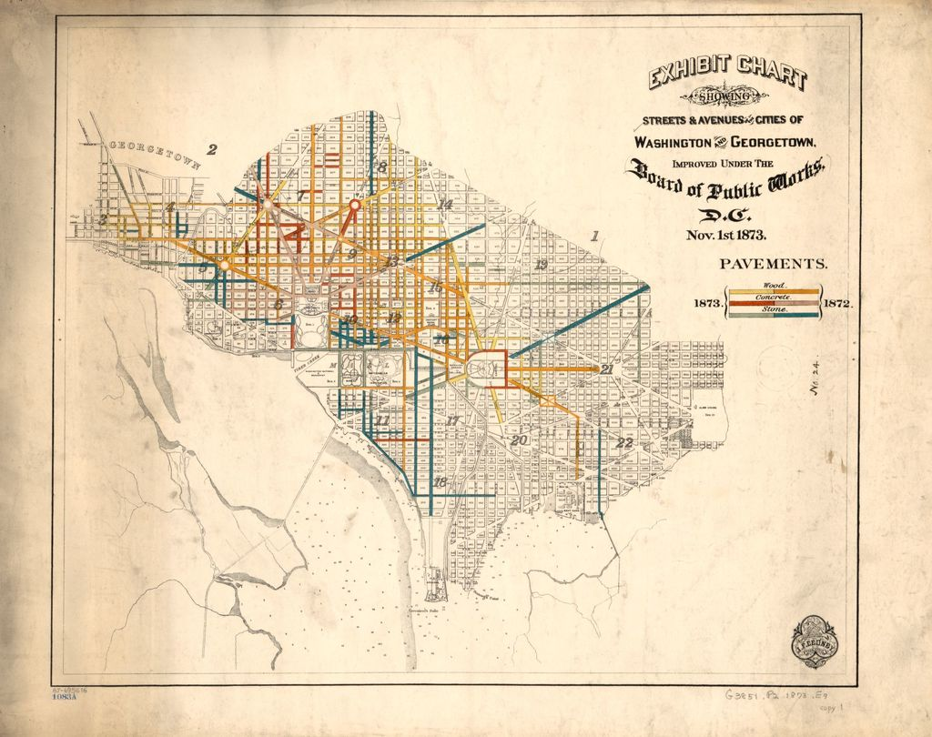 Exhibit chart showing streets & avenues of the cities of Washington and Georgetown : improved under the Board of Public Works, D.C., Nov. 1st 1873 : pavements.