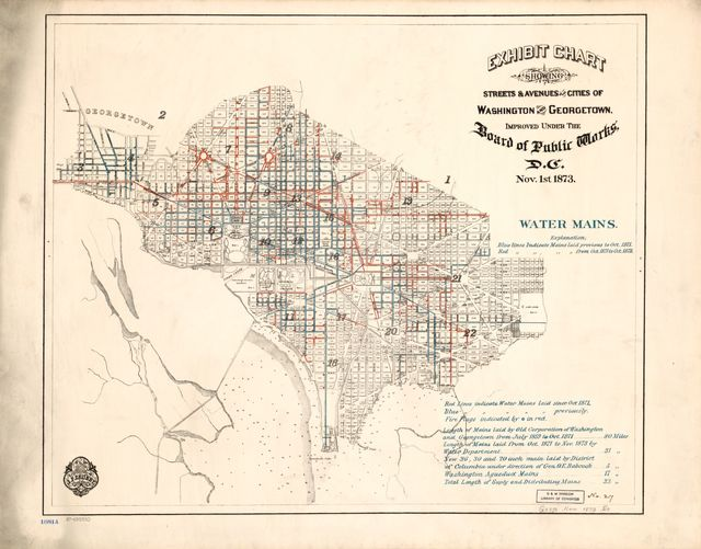 Exhibit chart showing streets & avenues of the cities of Washington and Georgetown, improved under the Board of Public Works, D.C. : Nov. 1st 1873 : water mains.