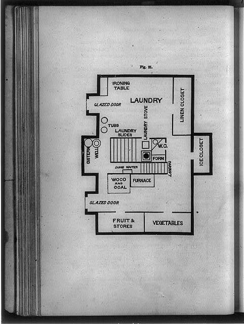 [Floor plan of laundry and food storage rooms]