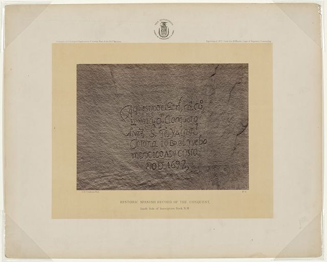 Historic Spanish record of the Conquest, south side of Inscription Rock, N.M. / T. H. O'Sullivan, phot.
