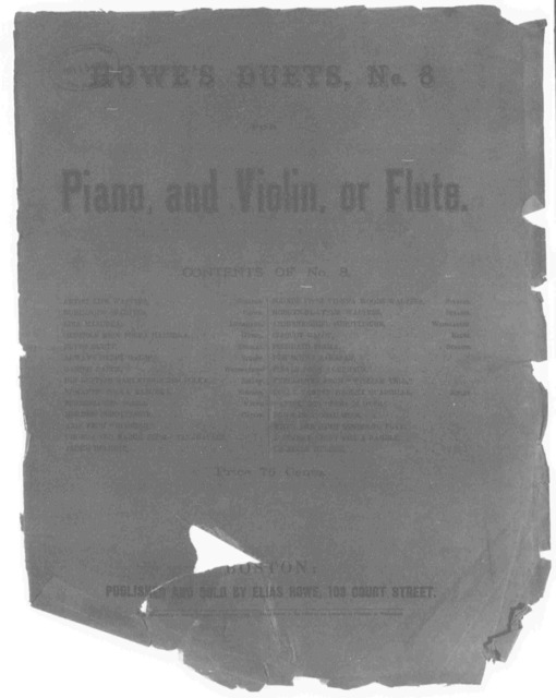 Howe's duets for the piano and violin, or flute