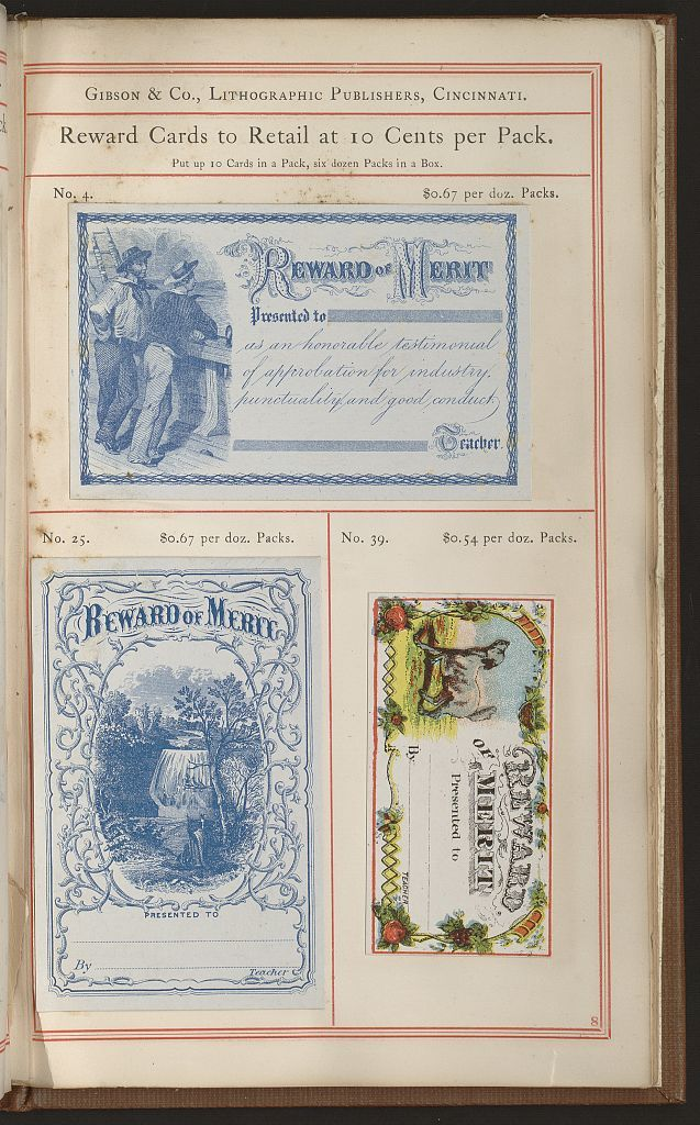 Illustrated price list of day school reward cards / / issued by Gibson & Co., publishers of reward cards for Sabbath and day schools, chromo vignettes, chromo gems, oleographs, notes, drafts, etc.