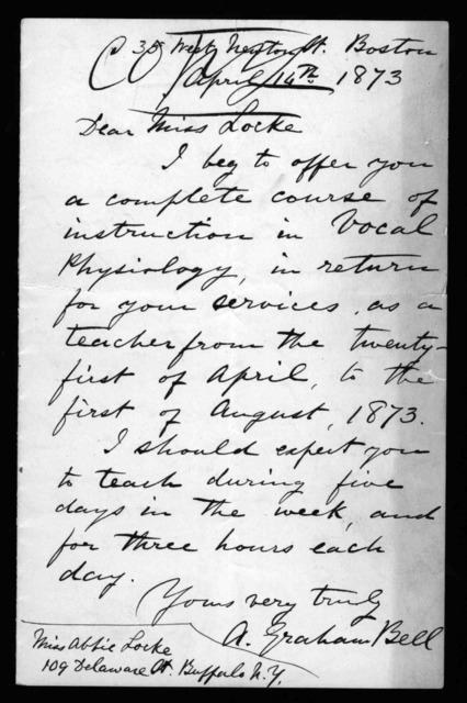 Letter from Alexander Graham Bell to Abby Locke Stone, April 14, 1873