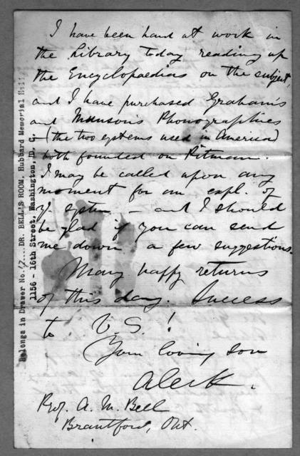 Letter from Alexander Graham Bell to Alexander Melville Bell, March 1, 1873
