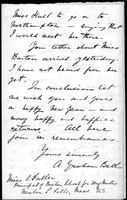 Letter from Alexander Graham Bell to Sarah Fuller, January 2, 1873