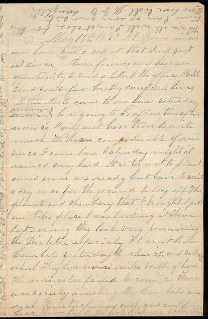 Letter from Mattie V. Oblinger to Thomas Family, May 19, 1873