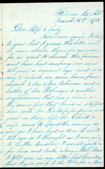 Letter from Uriah W. Oblinger to Mattie V. Oblinger and Ella Oblinger, March 16, 1873