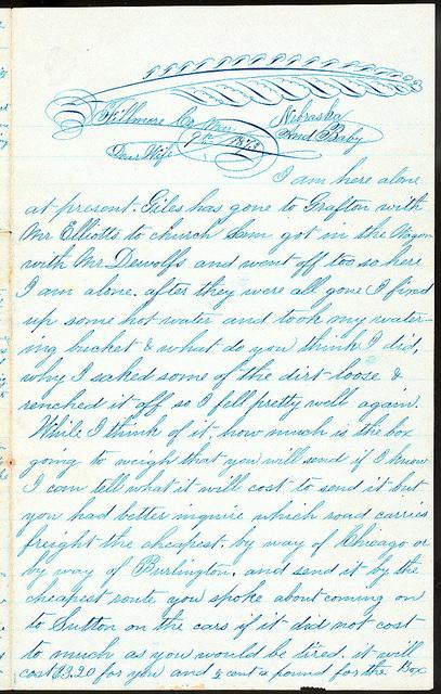 Letter from Uriah W. Oblinger to Mattie V. Oblinger and Ella Oblinger, March 9, 1873